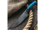 Булатный кухонный нож К003 Шеф (стабилизированный кап клена)