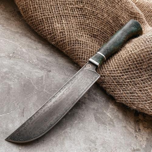 Кухонный булатный нож К004 ПЧАК ( стаб. карельская береза)