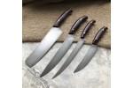 Набор кухонных ножей из литого булата №9 (из четырех ножей)