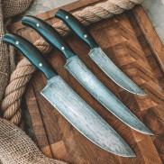 """Набор кухонных ножей из литого булата """"Поварская тройка"""" (фултанг, граб)"""