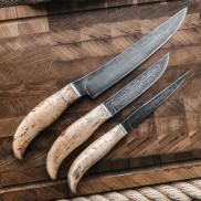 Набор кухонных ножей из литого булата Универсальный (натуральная К/Б)