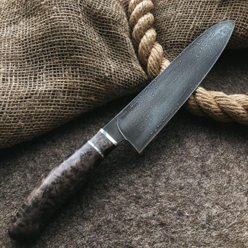 Кухонный булатный нож Сантоку Средний (стаб.карельская береза)
