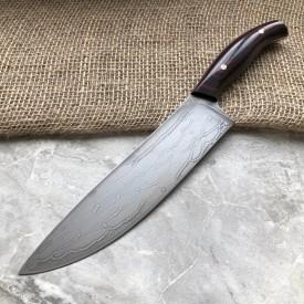 Нож кухонный из литого булата К003 Шеф (фултанг, цветная микарта)