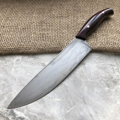 """Нож кухонный из литого булата К003 """"Шеф"""" - цветная микарта"""