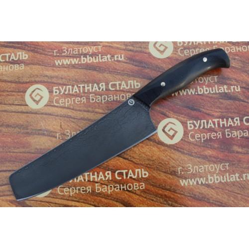 Кухонный булатный нож Шеф-2 (фултанг, микарта)