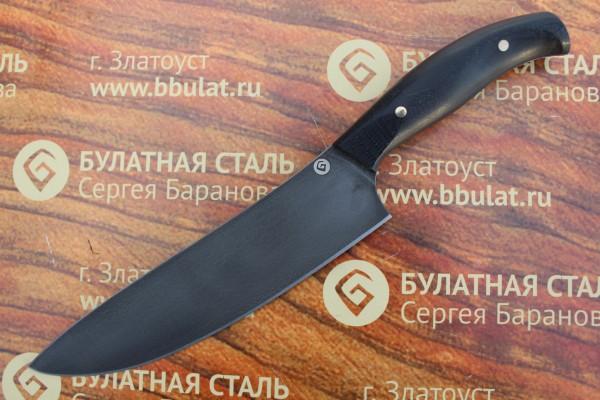 "Нож кухонный из литого булата K003 ""Шеф"" - микарта"