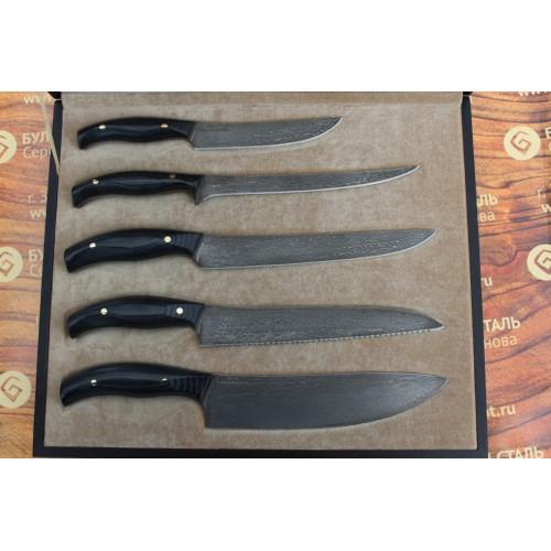 Набор кухонных ножей из литого булата  №3 (из пяти ножей)