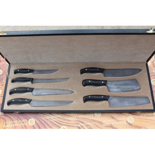 Набор кухонных ножей  из литого булата №5 (из семи ножей)