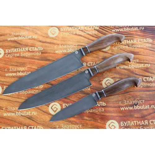 Набор кухонных ножей из литого булата Сантоку №2
