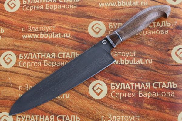 Нож кухонный из литого булата Сантоку большой №1