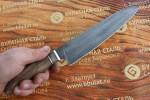 Нож кухонный из литого булата Сантоку большой - орех