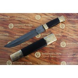 Нож подарочный из литого булата V007U - казачий пластунский
