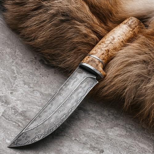 Булатный нож Притёс (карельская береза + пропитка)