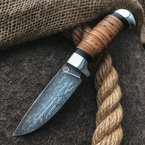 Булатный нож R001 (наборная береста, алюминий)