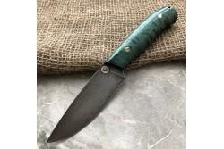 Булатный нож R001 (фултанг, зеленая стаб.карельская береза)