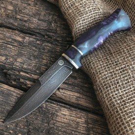 Булатный нож R003 (композит со стабилизированным капом клена)