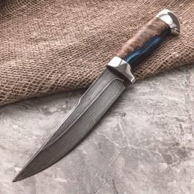 Булатный нож R008 (гибрид карельской березы, алюминий)