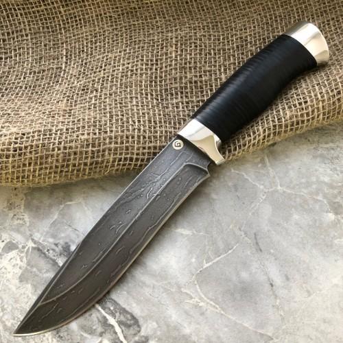 Булатный нож R015 (наборная кожа, алюминий)
