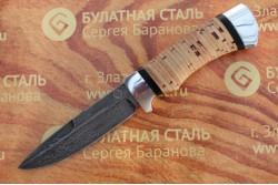 Булатный нож R003-алюминий, наборная береста