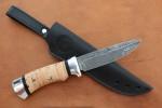 Нож разделочный из литого булата R003-алюминий, наборная береста
