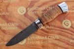Нож разделочный из литого булата R004 - алюминий , наборная береста