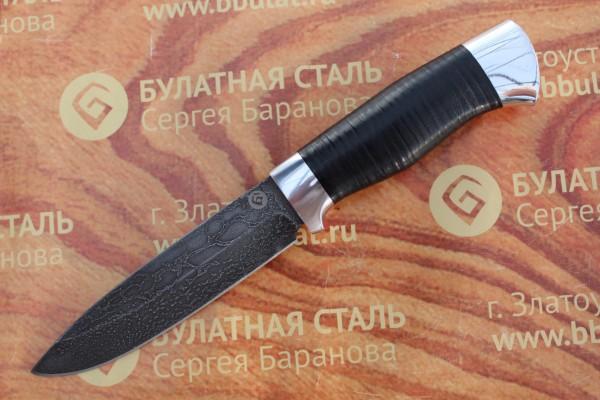 Нож разделочный из литого булата R005- алюминий наборная кожа