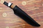 Нож разделочный из литого булата R009 - наборная береста,алюминий
