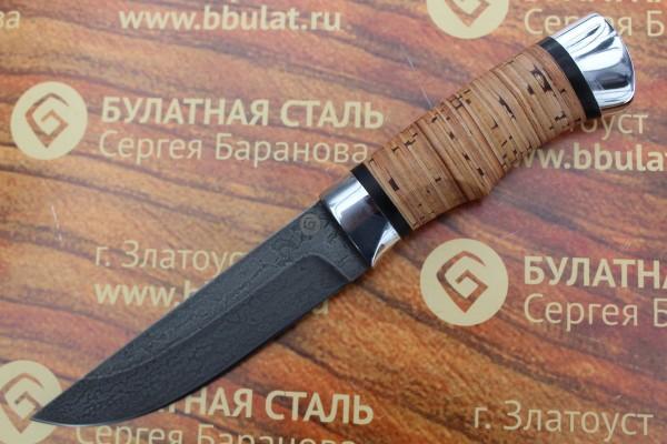 """Нож разделочный из литого булата """"Степчак""""-большой ,наборная береста,алюминий"""