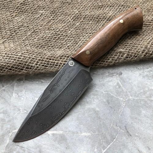 Шкуросъемный булатный нож S004 (фултанг, горный орех)