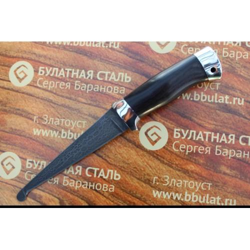 Шкуросъемный булатный нож Промысловый-алюминий,граб