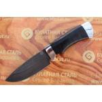 Шкуросъемный булатный нож S004- алюминий, наборная кожа