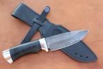 Нож шкуросъемный из литого булата S004- алюминий, наборная кожа