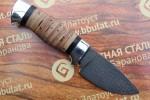 Нож шкуросъемный из литого булата S005 - наборная береста ,алюминий