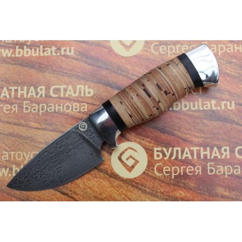 Шкуросъемный булатный нож S005 - наборная береста ,алюминий
