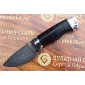 Шкуросъемный булатный нож S005 - наборная кожа,алюминий