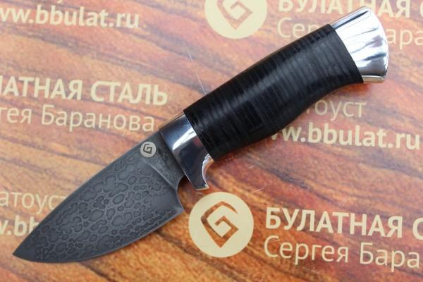 Нож шкуросъемный из литого булата S005 - наборная кожа,алюминий