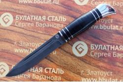 Булатный нож T002(нр-40)v1 наборная кожа,тыльник