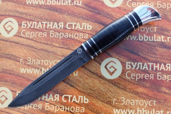 Нож туристический из литого булата T002(нр-40)v1 наборная кожа,тыльник