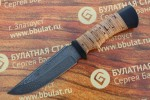 Нож туристический из литого булата T003 - наборная береста