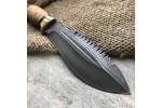 Нож охотничий из литого булата V001-латунь, наборная береста