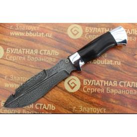 Нож охотничий из литого булата V001-алюминий, граб