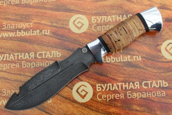 Нож охотничий из литого булата V001-алюминий, наборная береста