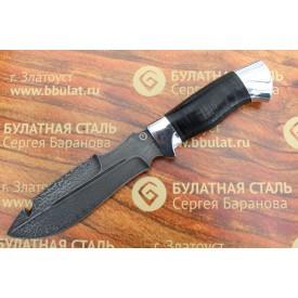 Нож охотничий из литого булата V001-алюминий, наборная кожа