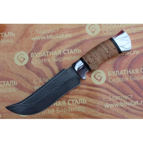 Нож охотничий из литого булата V002-алюминий, наборная береста