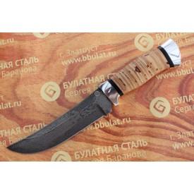 Нож охотничий из литого булата V005- алюминий, наборная береста