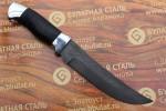 Нож охотничий из литого булата V005- алюминий, наборная кожа