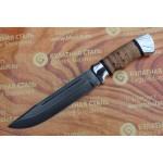 Нож охотничий из литого булата V006- алюминий, наборная береста