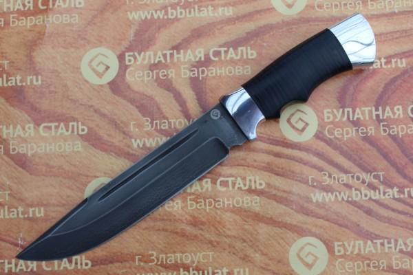 Нож охотничий из литого булата V006- алюминий, наборная кожа