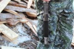 Нож подарочный из литого булата V007U - казачий пластунский с деревянными ножнами
