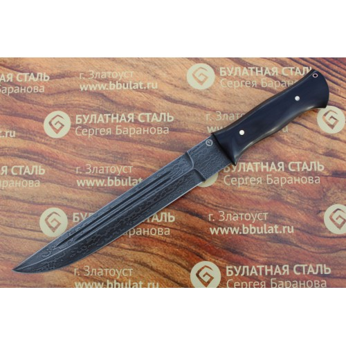 Нож охотничий из литого булата V007G-V2-казачий пластунский (фултанг, граб)